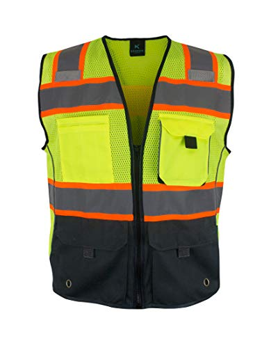 Kolossus Deluxe High Visibility Vest with Multi Frontal Pockets (Medium) Black/Yellow