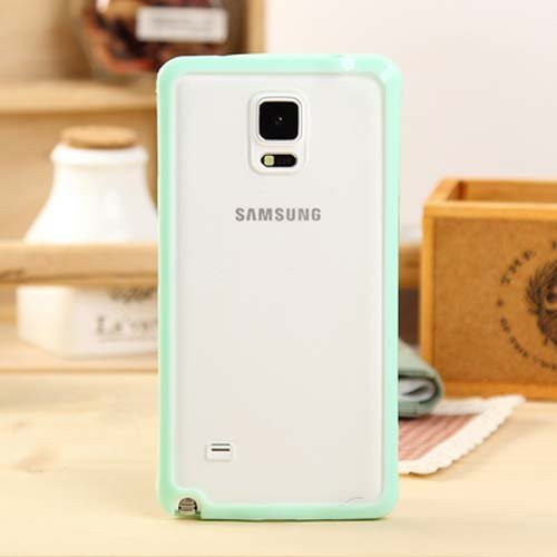 Galaxy Note 4 Case, ANLEY Candy Trim Series - [1.5mm Slim Fit] [Shock Absorption] Jelly Silicone Bumper with Frosted Clear Hard Back Cover for Samsung Galaxy Note4 (Mint Green) + Free Ultra Clear Screen Protector Film