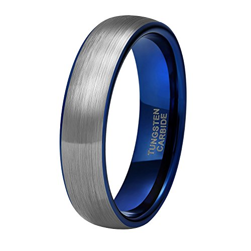 Shuremaster 6mm Tungsten Carbide Wedding Ring Band for Men Women Silver Blue Two Tone Brushed Comfort Fit Size 8.5
