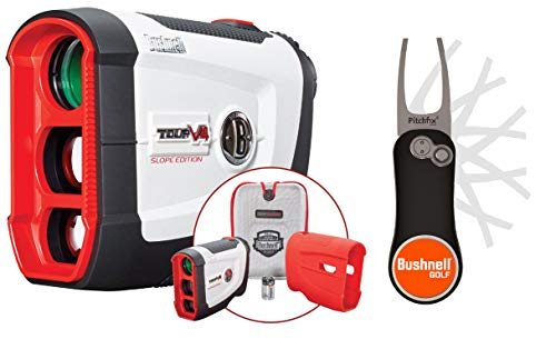 Bushnell Tour V4 Shift (Slope) Golf Laser Rangefinder Patriot Pack Bundle with PlayBetter Pitchfix Divot Tool & Bushnell Golf Magnetic Ball Marker | Slope, Pinseeker Jolt, 5X, 1000 Yards | 201760P