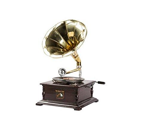 MAXIOCCASIONI Gramófono Cuadrado (Madera, Trompeta (latón, Vintage ...
