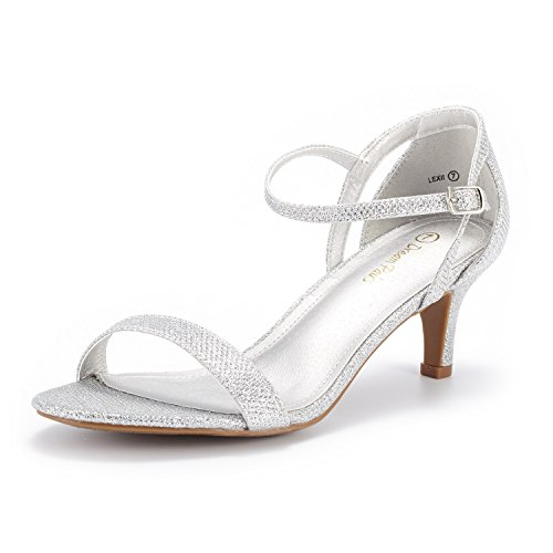 DREAM PAIRS Women's LEXII Silver Glitter Fashion Stilettos Open Toe Pump Heel Sandals Size 7.5 B(M) US