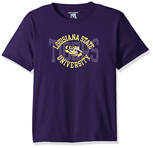 Champion NCAA Youth Boys Shirt 100% Cotton Tagless Tee, Lsu Tigers, Large