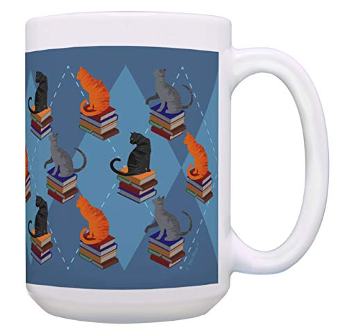 Cat Themed Gifts Cats and Books Mug Cat Lover Mug Cat Owner Gifts 15-oz Coffee Mug Tea Cup Multi