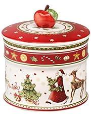 Villeroy & Boch Winter Bakery Delight Caja pequeña para pastas, Porcelana Premium, Blanco/Rojo