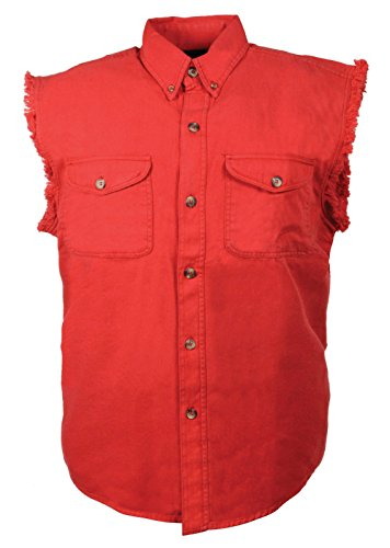 Mens Biker Riding Red Cotton Cut Off Half Sleeveless Shirt with Frayed Sleeves(5XL)