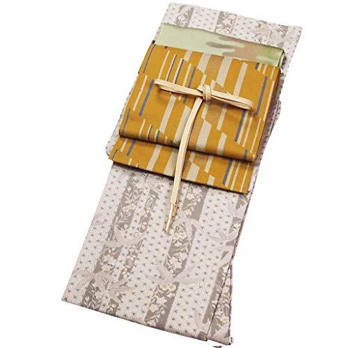 洗える着物 小紋(袷) セット ベージュ地系 Lサイズ 八寸名古屋帯?正絹帯締め?正絹帯揚げ プレタ着物