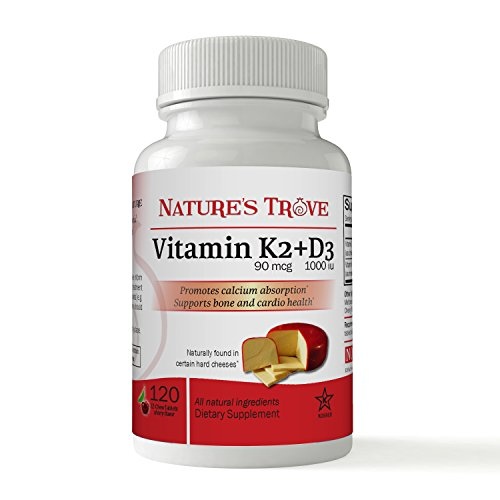 Vitamin K2 (Mk-7) with D3 by Nature's Trove - 120 EZ-Chew Tablets Cherry Flavor (Naturals Source Tabs Mcg 120)