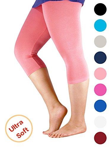 Century Star Women's Modal Plus Size Basic Solid Capri Leggings Pink US 1X Plus-US 2X Plus(Tag (Solid Pink Leggings)