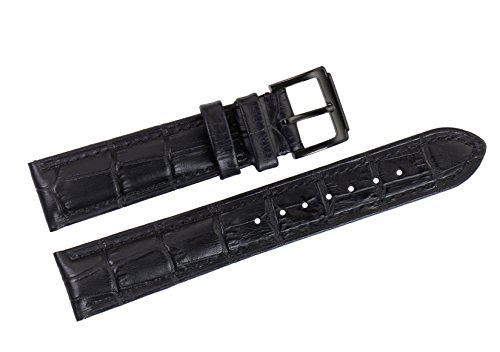 22mm-black-luxury-italian-leather-replacement-watch-straps-bands-grosgrain-for-top-grade-brands