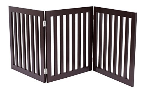Internet's Best Traditional Pet Gate | 3 Panel | 24 Inch Step Over Fence | Free Standing Folding Z Shape Indoor Doorway Hall Stairs Dog Puppy Gate | Fully Assembled | Espresso | MDF