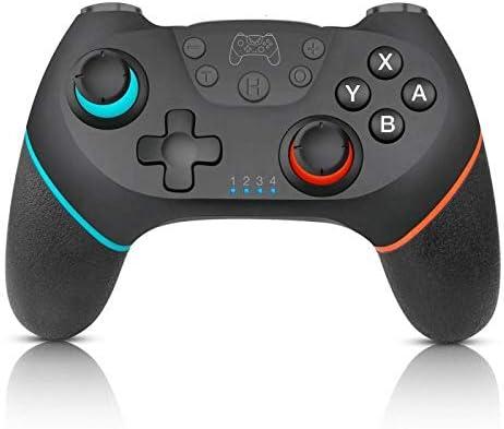 CYFC Nintend用6軸ハンドルワイヤレスのBluetoothゲームパッドでスイッチコンソールの場合プロNS-スイッチProのゲームジョイスティックコントローラを切り替えます (Color : Left blue right red)