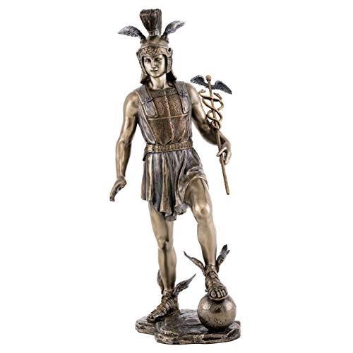Top Collection Hermes Statue- Olympian Greek God of Transitions and Boundaries Sculpture in Premium Cold Cast Bronze- 12.75-Inch Collectible Son of Zeus Figurine