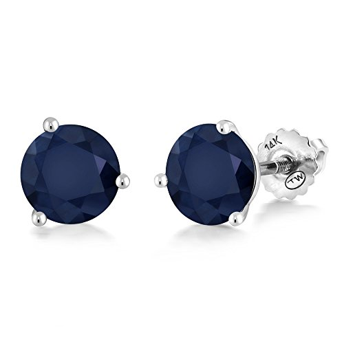 - Gem Stone King 14K White Gold Blue Sapphire Martini Setting Stud Earrings 2.00 Ct Gemstone Birthstone Round 6MM