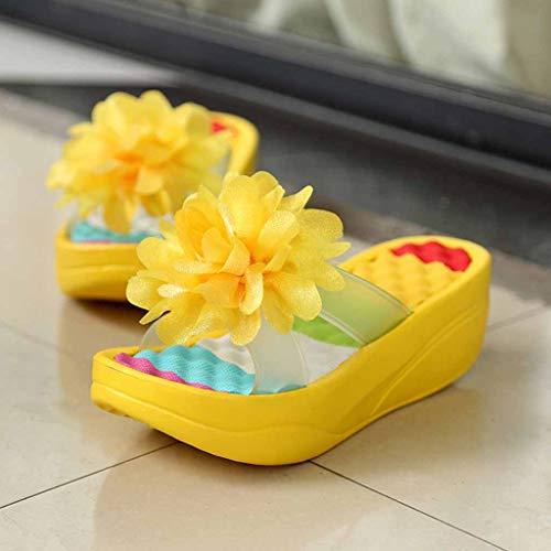 Pantofole Con Sandali Topgrowth Donna Zeppa Buco Fiori Scarpe Gioiello Estive Giallo Da E1q8qnU