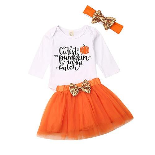 Newborn Baby Girls My 1st Halloween Costume Pumpkin Romper Tutu Skirt Headband Leg Warmer 4pcs Outfits Set (Style E, ()