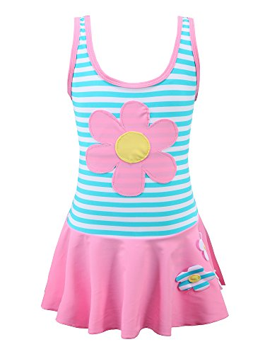 Chrysea Girls Stripe Swimwear One-Piece Swimsuit with Flowers Applique (8-9 Years, Pink)
