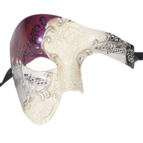Luxury Mask Men's Phantom Of The Opera Half Face Masquerade Mask Vintage Design, Purple/Silver, One Size -