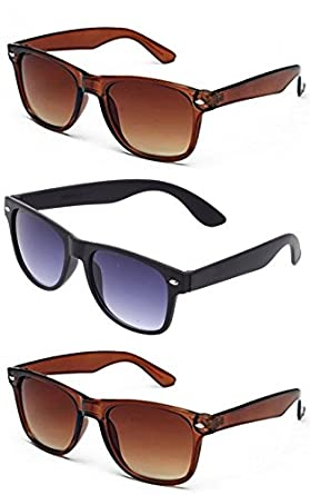 db2eeff168f4 Image Unavailable. Image not available for. Colour  Combo Set of 3 UV  Protect Fashion Wayfarer Goggle and Sunglasses ...