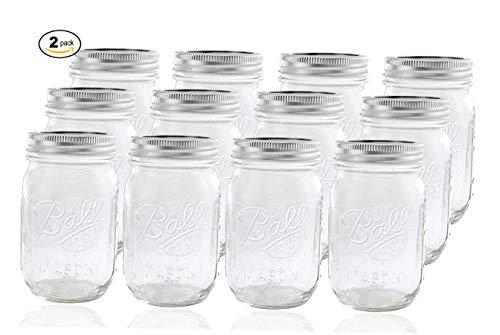 Ball Glass Mason Jar with Lid and Band, Regular Mouth, 24 Jars