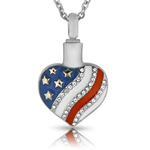 (Heartfelt American Flag Heart Cremation Jewelry Necklace Urn Memorial Keepsake Pendant for Ashes with Funnel Fill Kit )