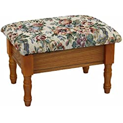Frenchi Furniture Queen Anne Style Footstool w/ Storage in Oak Finish