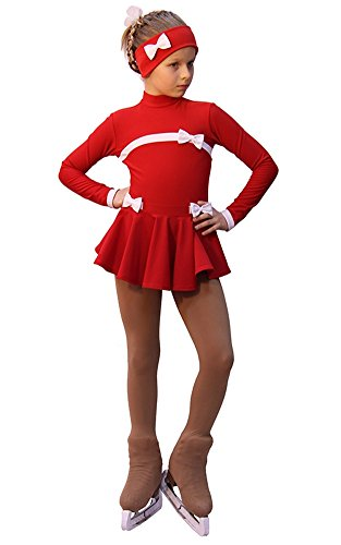 IceDress Figure Skating Dress Bows (Red and White)