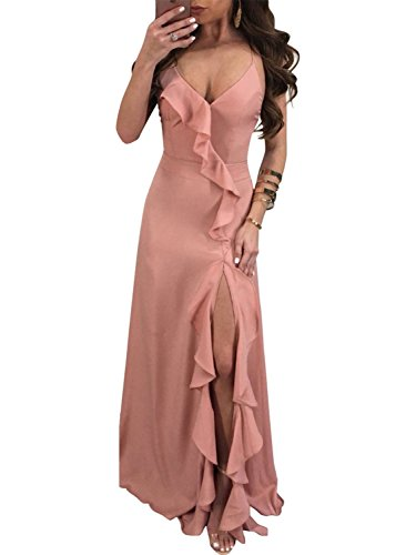 Glamaker Women's Sexy Backless Strap Ruffle Deep V Neck Maxi Party Dress with High Slit Pink (Ruffle Dress Front)