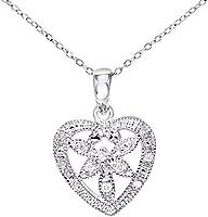 Naava Colgante para Mujer de Oro Blanco 9K con 12 Diamantes