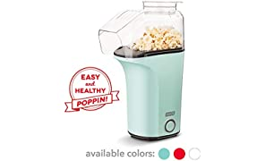 DASH DAPP150V2AQ04 Hot Air Popcorn Popper Maker with Measuring Cup to Portion Popping Corn Kernels + Melt Butter, 16, Aqua