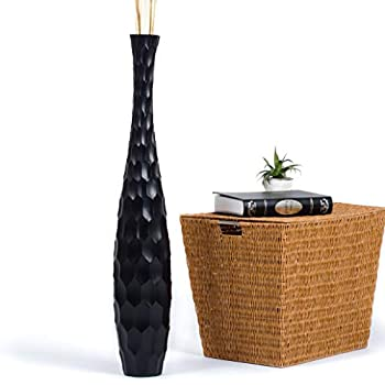 Leewadee Tall Big Floor Standing Vase For Home Decor, 5x30 inches, Wood, black