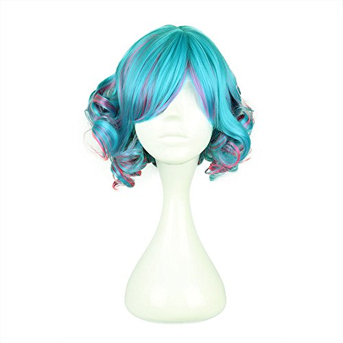 COSPLAZA Cosplay Wig Greenish-Blue Multi-Color Wavy Japanese Harajuku Lolita Anime Show Party Hair