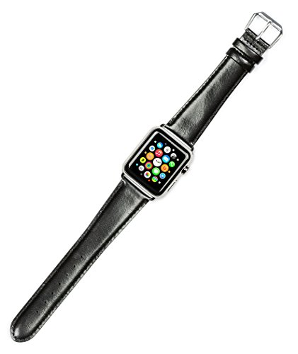Debeer Replacement Watch Band - Smooth Leather - [Extra Long Length] - Black - Fits 38mm Apple Watch [Black Adapters]