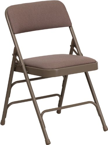Flash Furniture HERCULES Series Curved Triple Braced & Double Hinged Beige Fabric Metal Folding (Fabric Metal Folding Chair)