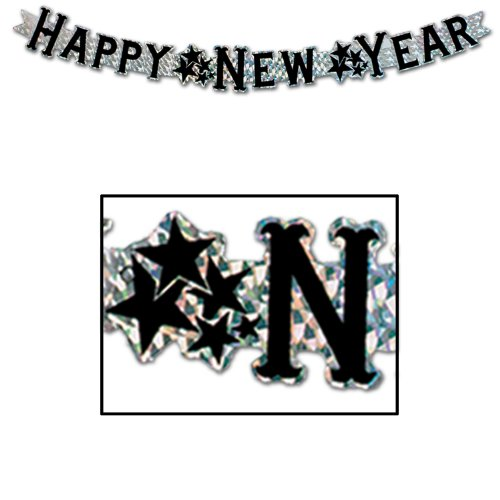 [Prismatic Happy New Year Streamer (silver) Party Accessory  (1 count) (1/Pkg)] (Happy New Year Costumes)