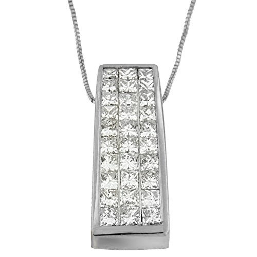14k White Gold (1 5/8ct TDW) Princess-cut Diamond Pillar Pendant Necklace ()