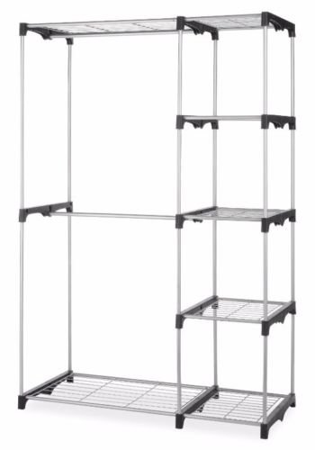 Space Saver Sturdy Silver Portable Closet Organizer Storage Clothes Hanger Garment Shelf Rail Rack Perfect For Anyone Who Needs Extra Space (Newmarket Bag)