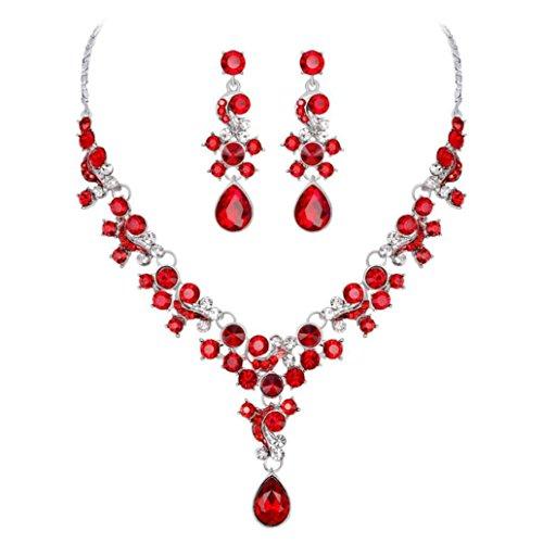 Becoler Alloy Rhinestone Pearl Necklace Earrings pendants Set Wedding Jewelry Gift