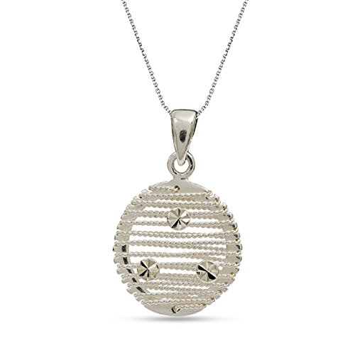 - LeCalla Sterling Silver Jewelry Round Wire Wrap Pendant with Cable Chain for Women