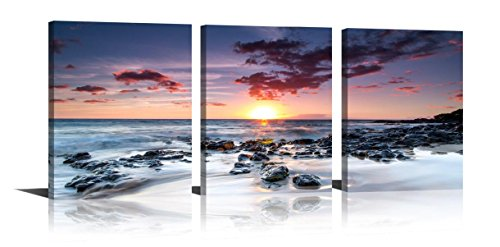 YPY Seascape Wall Art Sunrise Stone Rock Print on Canvas 3 Panels Paintings for Home Decor Living Room Bedroom 12x16in (3 Panel Painting)