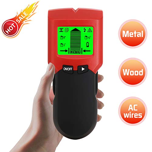 2019 Upgraded Stud Finder, 5 in 1 Multi Function Electronic Stud Sensor Finders Wall Detector Center Finding with LCD Display Sound Warning for Wood/Live AC Wire/Metal/Studs Detection