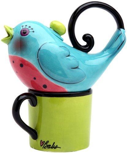 Appletree 6-7//8-Inch Ceramic Blue Bird Tea For One