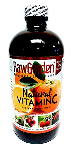Raw Garden Natural Liquid Vitamin C with Rose Hip,Amla,Camu Camu, Acerola, 1 Pack 16 OZ Glass Bottle