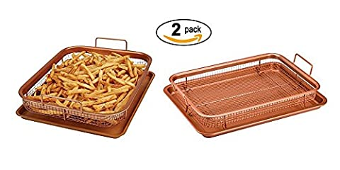 2 Pack Copper Baking Tray Air Fryer - Deluxe Multi-Purpose Copper Crisper Chef Pan Sheet with Non Stick Mesh Grill Crisper Tray - Oven Safe Non-Stick Square Pan Design by (Crisper Trays)