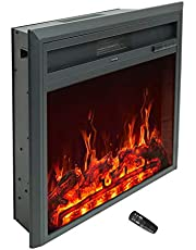 C-Hopetree Electric Fireplace Insert, Portable Freestanding Heater with Remote and Thermostat, 81cm Wide