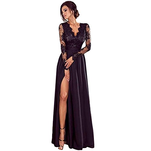 - iLUGU Bodycon Maxi Dress for Women Lace Long Sleeve Deep V-Neck Empire Line High Split Party Ball Prom Wedding Gown (Black, 2XL)