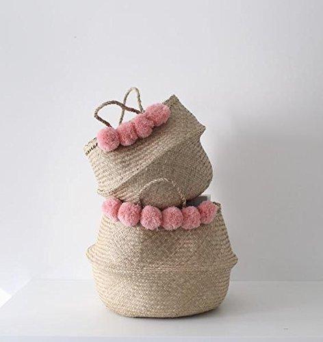 GRAS Modern sea grass belly basket with pink pom pom/ nursery decor/Wholesales bulk/laundry picnic storage basket/ belly basket storage/ -