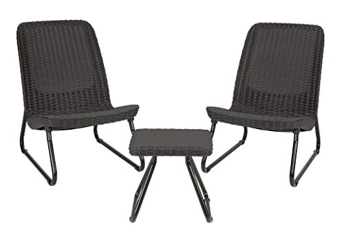 (Keter Rio 3 Pc All Weather Outdoor Patio Garden Conversation Chair & Table Set Furniture, Grey)