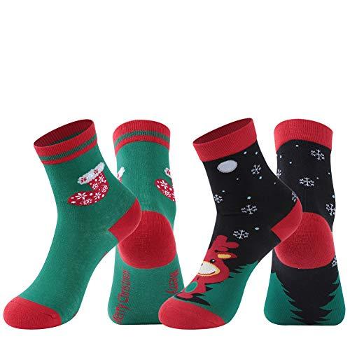 Colorful Funky Christmas Socks, Atrest Unisex Mid Calf Casual Dress Socks Holiday Xmas Gift for Girlfriend Boyfriend Christmas Novelty Cartoon Cotton Crew Socks Elk Christmas Socks Printed, 2 Pairs M (Funky Christmas Stocking)