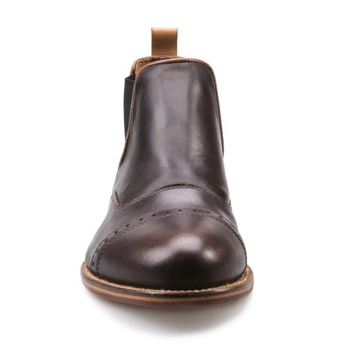 J Shoes Nelson Men's Dark Brown Leather Low Cut Chelsea Boots E8003 FPYCLdM